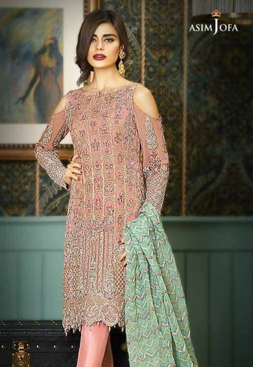 Beautifull chiffon dress by asim jofa in tea pink and mint green color Model# C 858
