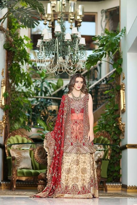 Pakistani bridal lahnga in skin golden and red color Model #W 845