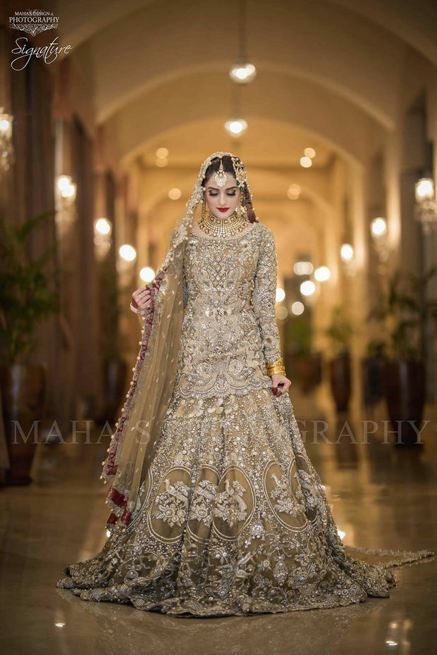 Beutifull bridal lahnga in golden color Model# W841