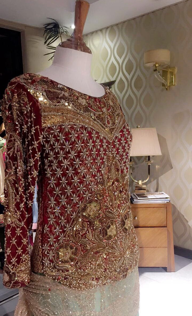 Red goldan copper wedding party dress with dull gold dabka  nagh zariModel#P 35