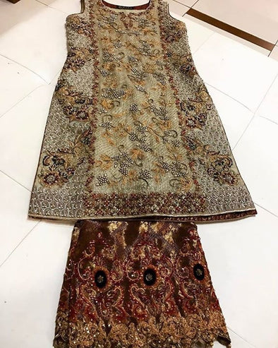 Off white golden and maroon gharara jamawar cloth set with heavydabka kut dana threads nagh and moti  work#G 30