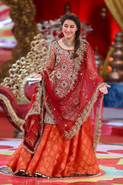 Beautifu mehndi Dress Red & Orange Model # W1006