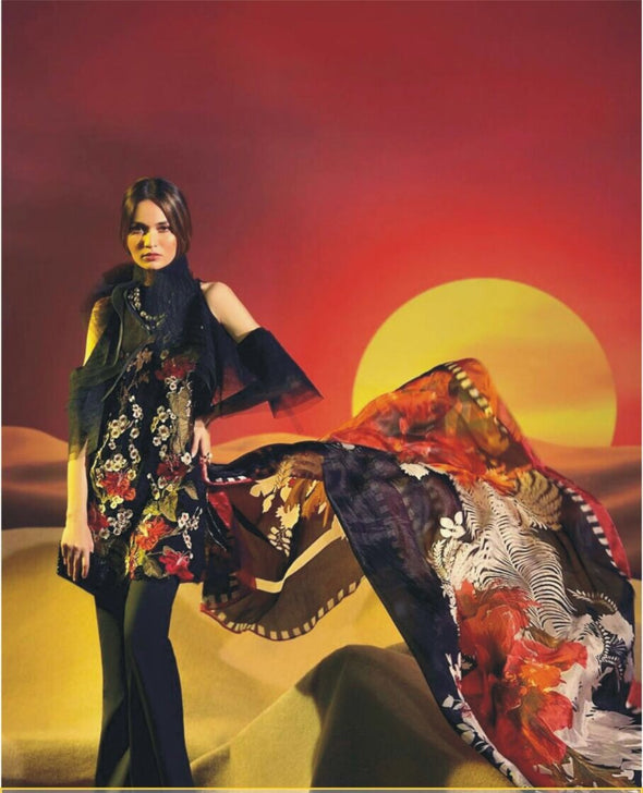 Beutifull winter dress by sana safinaz on with wooln shawl Model#W 904