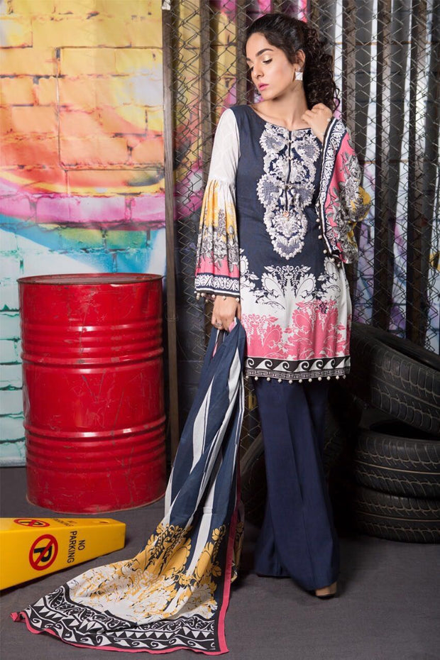 Beutifull winter dress by sana safinaz with linen shawl Model #W 901