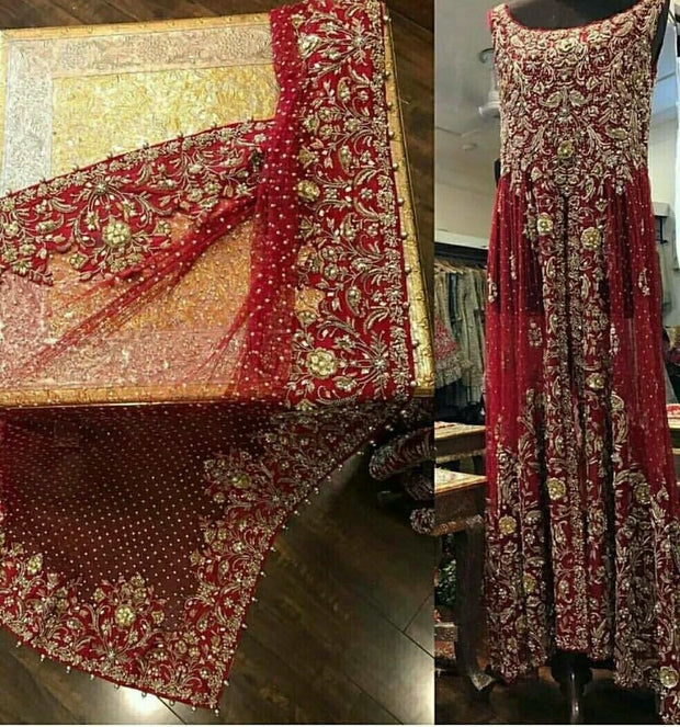 Beutifull bridal maxi in maroonish red color Model #W 1009