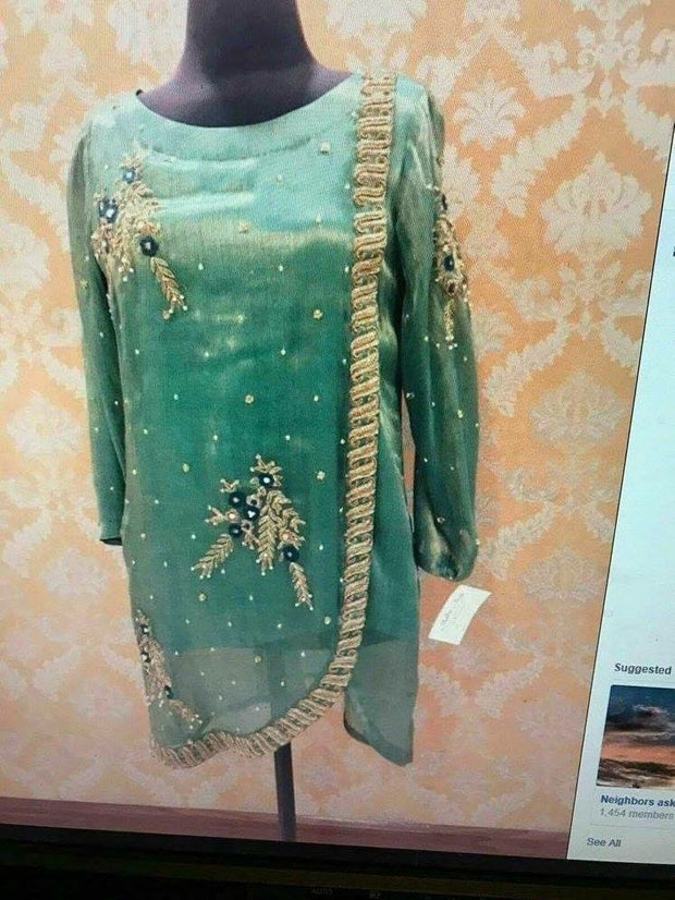 Wedding party dress in light bottle green color with dabka zari and pearls work Model#   P 299