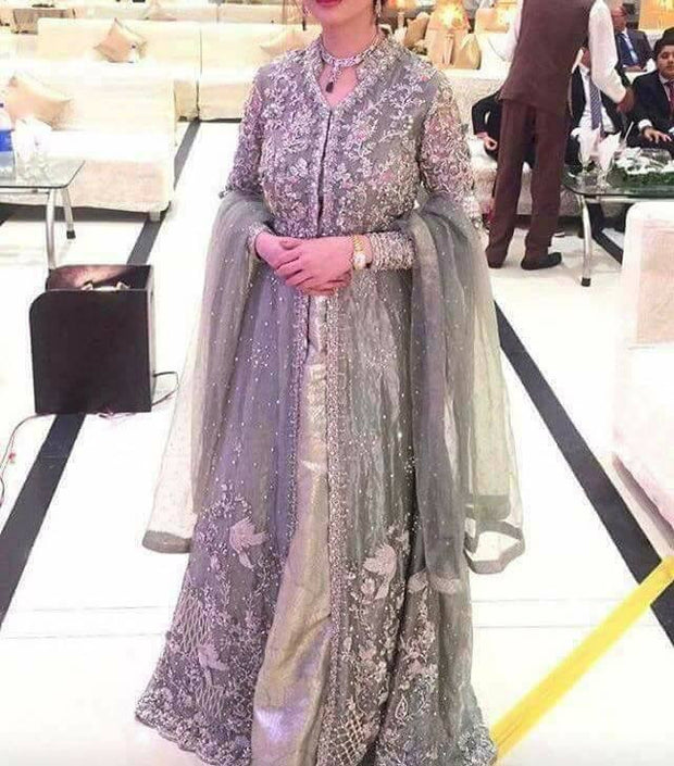 Wedding party maxi in gray silver colo with pure dabka zari nagh threds pearls and cutwork Model#P 302