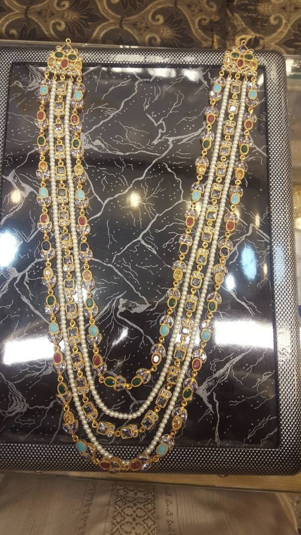 Kundan mala nackless with multi Kundan and pearls Model#Kundan 13
