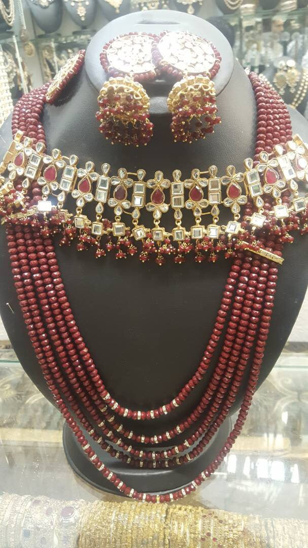 Bridal Kundan choker set with jhumka and mala Model#Kundan 15