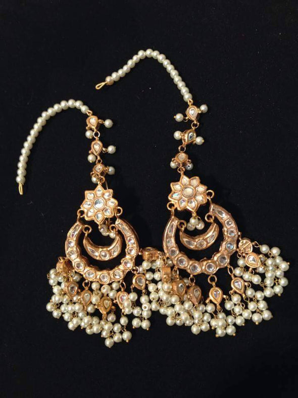 Kundan earrings in white and golden Model#Kundan 23