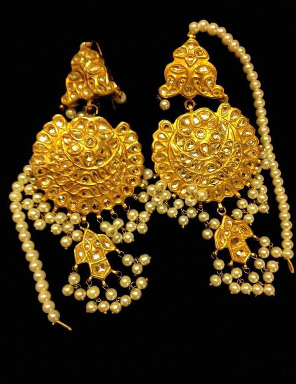 Kundan earrings in white and golden color Model#Kundan 25