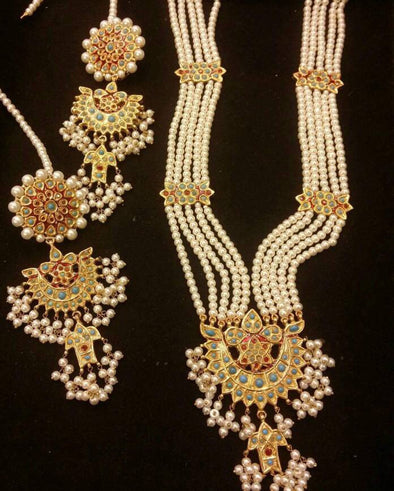 Kundan mala set with earrings Model# Kundan 43