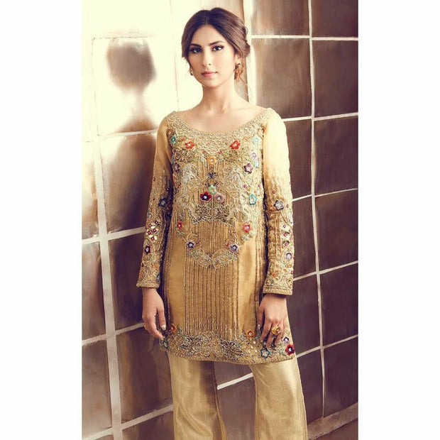 Wedding party dress in golden color in dabka zari sequence and multi threds work Model# P 295