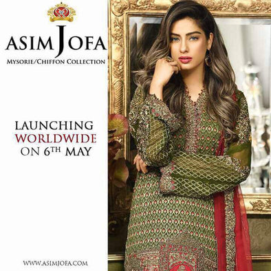 Eid dresses 2017 Chiffon dress by asim jofa Model#Eid 292