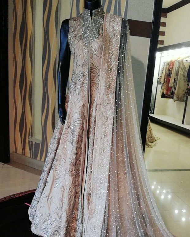Wedding bridal maxi in pink and silver color Model #B 392