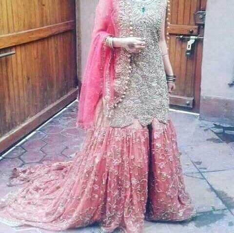 Wedding bridal gharara set in golden silver and baby pink color cloth based on net and tissue Model # B 389