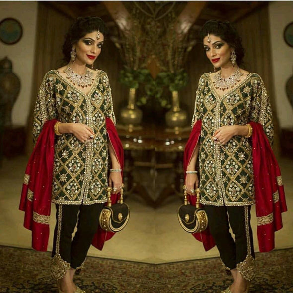 Green and red mahroonish heavy wedding party dress with pure dabka nagh pearls and zari work Model#P 21
