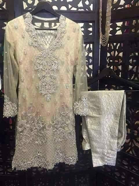 Peach and silver wedding party dress with dabka nagh zari and cut work Model#P 28