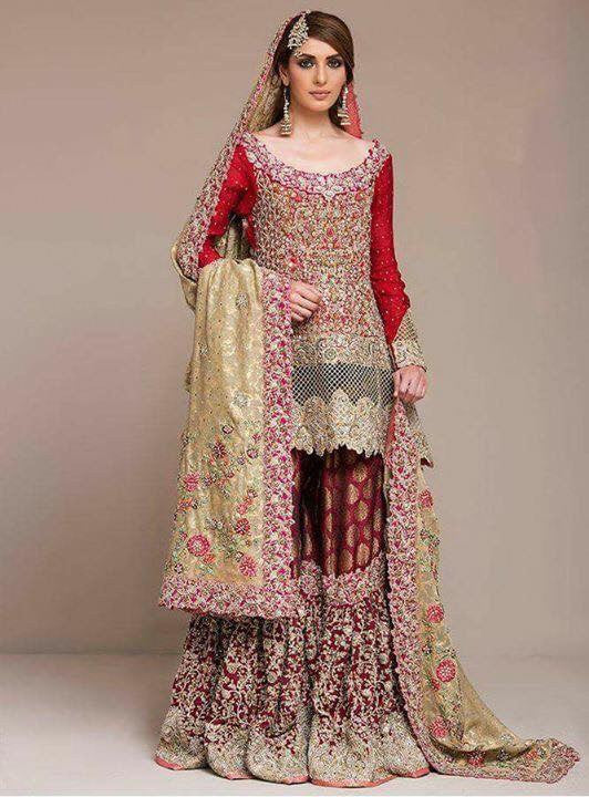 Dulhan red golden and maroon lahna with dabka nagh zari and cut work  Model#D 20