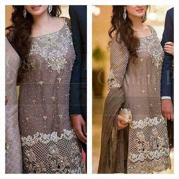 Light brown and silver wedding party dress with nagh dabka cutwork and perl work Model#P 27