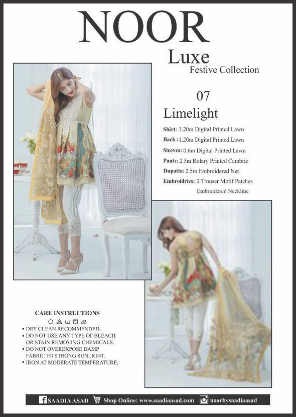 Lawn dress by noor luxe in lemon and white color Model# Eid 522