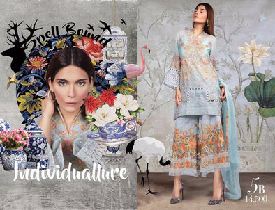 Lawn dress by sana safinaz in sky blue and rust orange color Model#Eid 511