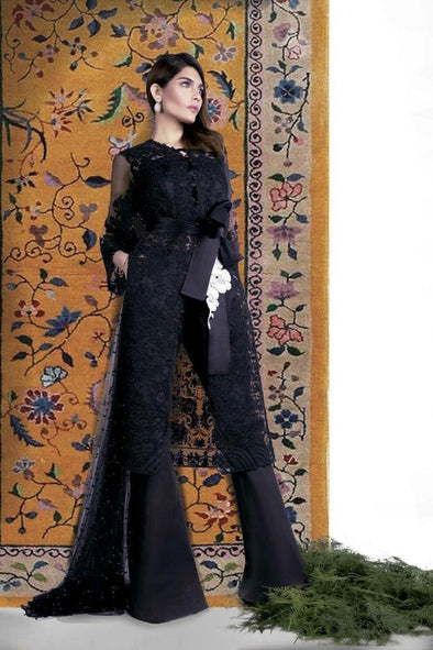 Net and lawn inner dress by sana safinaz In black color Model # Eid 510