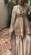 Bridal gharara set for nikah bride in offwhite color with golden work Model#W 537