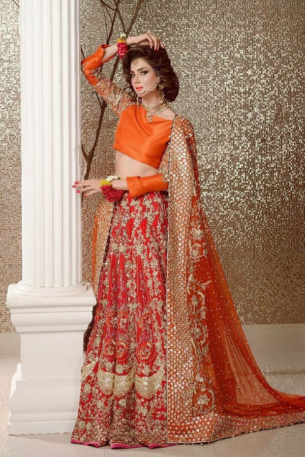 Bridal lahnga in orange with lighter red color with pure dabka nagh zari perls sequence and nagh work Model# W 536