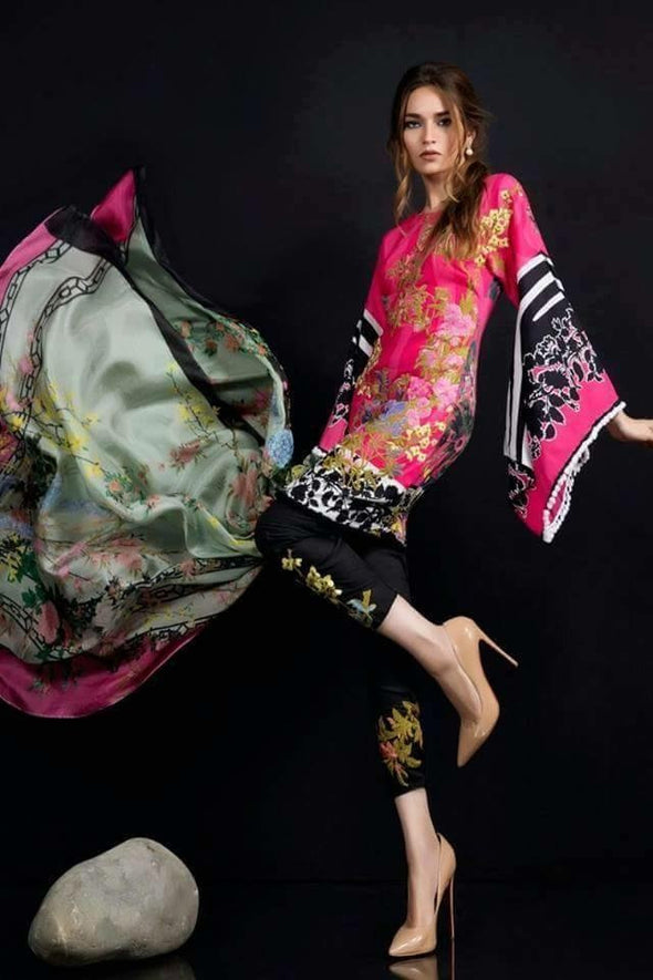 Lawn dress by sana safinaz in black and shokin pink color Model # Eid 513