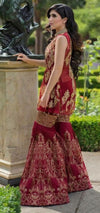 Wedding party dress in maroon and golden color with nagh perls sequence and dabka zari work Model #P 535