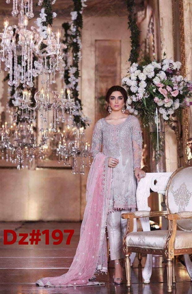Chiffon dress by Maria b in pink and gray color Model # Eid 507