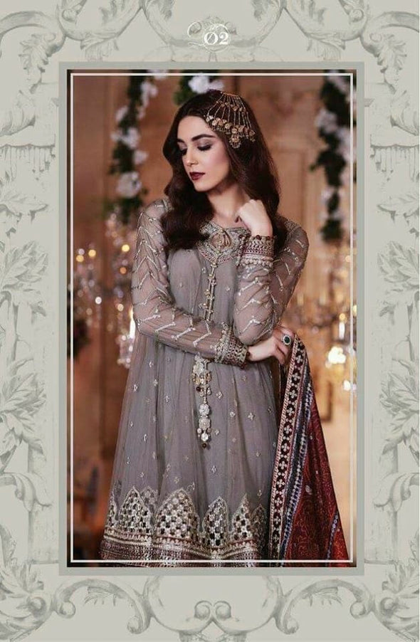 Pakistani Designer Dress Chiffon  by Maria B with Chunri Silk Doupata in Gray and Maroon color Model #Eid 506