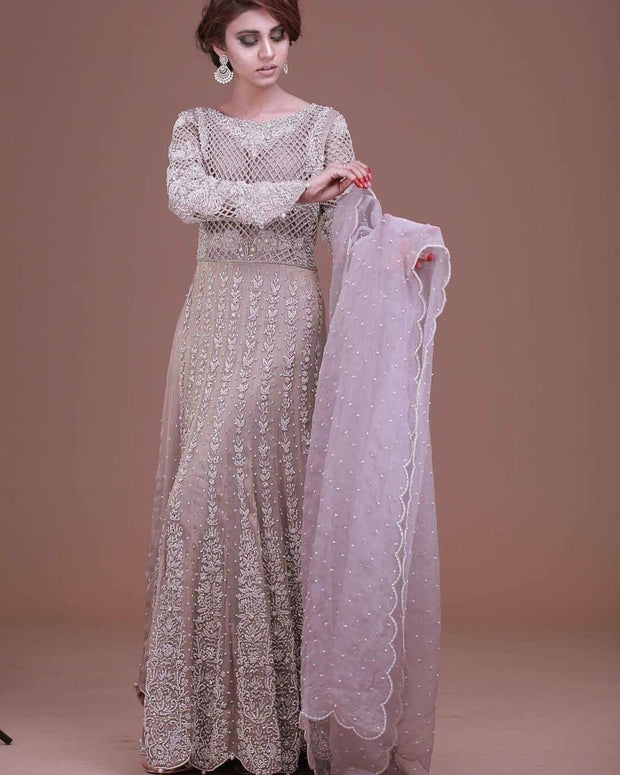 Wedding lahnga in light lilac and dark lilac color with cutwork dabka zari nagh and pearls work Model # W 534