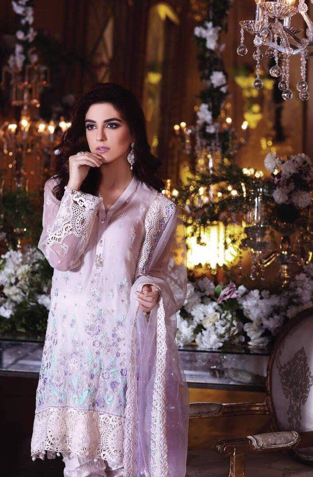 Chiffon dress by Maria b in light sky blue and laylac color Model# Eid 522
