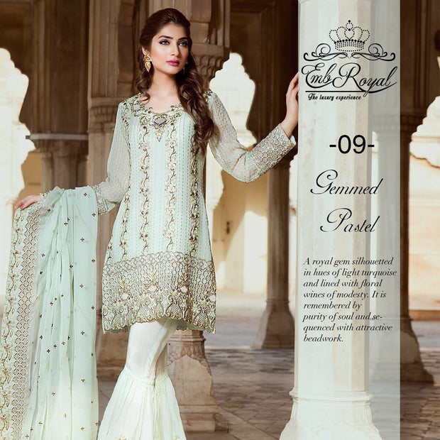 Chiffon dress by emb royal in light sky blue color Model# Eid 523