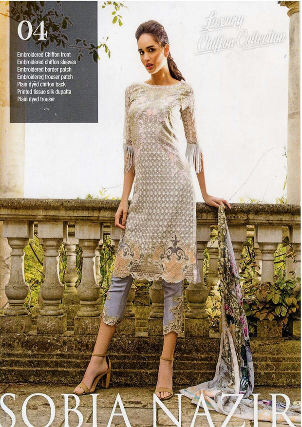 Net dress by sobia nazir with lawn inner in gray color Model#Eid 526