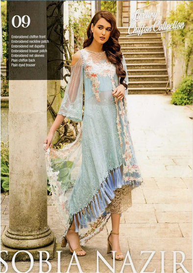 Net dress by sobia nazir with lawn inner in light sky blue color Model #Eid 527