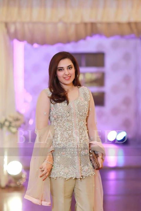 Skin gold  wedding party dress  with dabka nagh pearls and cutwork Model#W 47