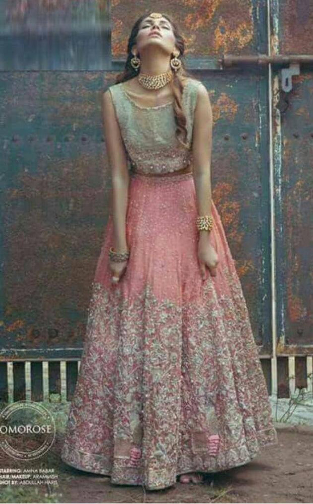 Baby pink maxi with gold work Model#W 40