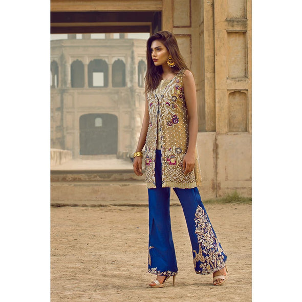 Wedding party dress on organza tissue cloth in blue and golden color with perls threds nagh zari and dabka work Model# P 531
