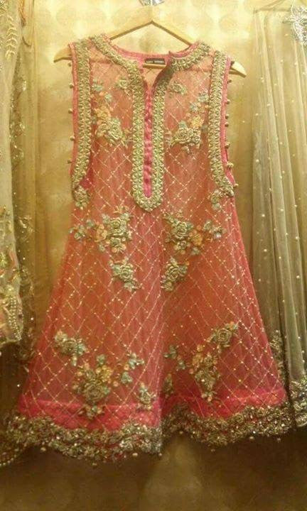 Pink peach wedding party dress with golden silver dabka cutwork and threds workModel# P 38