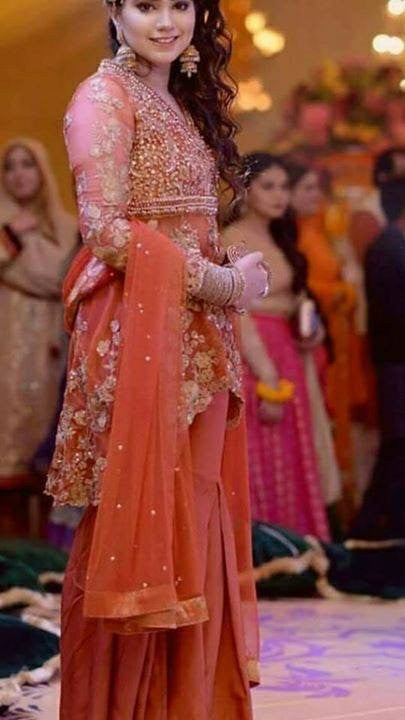 Rust orang wedding party dress with dabka nagh dull gold cutwork Model#W45