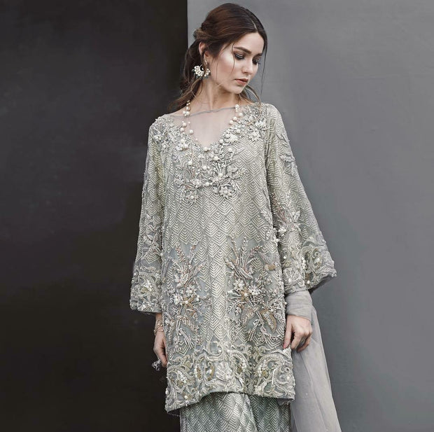 Wedding party dress in gray color with nagh perls and dabka work Model #P 539