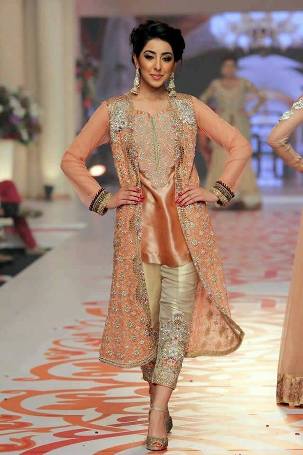 Chiffon zainab chotani rust dress Model#C 62