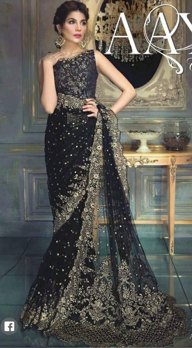 Chiffon net saree by ayra from the house of Maria b in golden black color Model # C 568