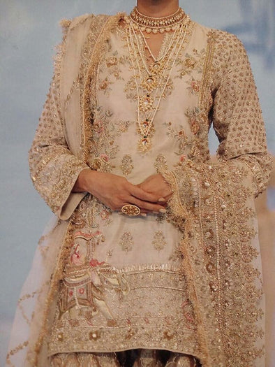 Golden Gharara Shirt with Gharara Work With Mughleai Theme