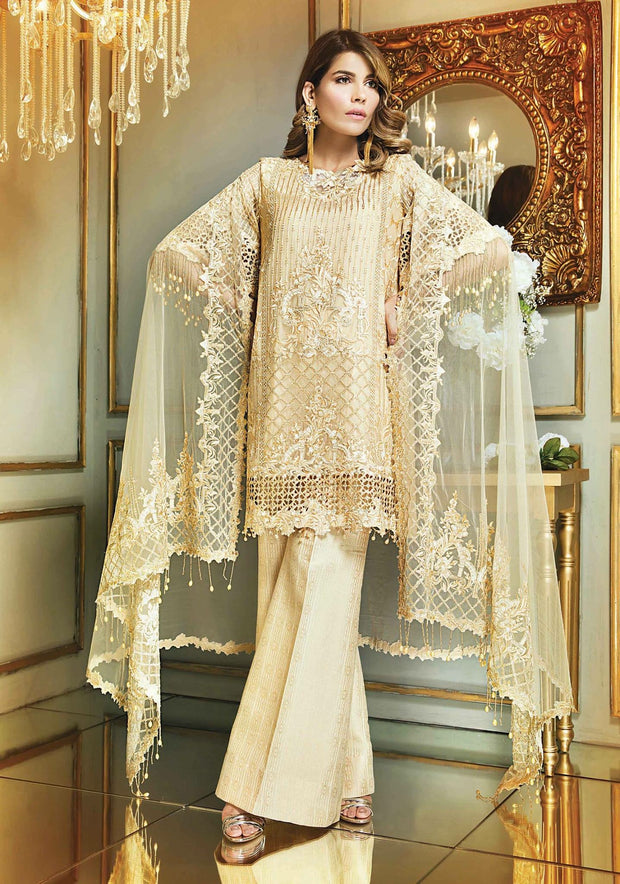 Chiffon dress by Anaya in skin gold color with threds and tila embroidery Model# C 567