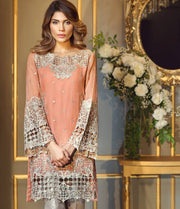 Chiffon dress by Anya in peach pink color with threds cutwork and patch embroidery Model #C 567