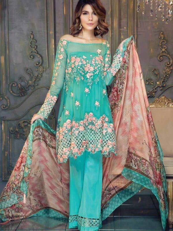 Chiffon dress by ayra from the house of Maria B in aqua green and pink color Model# C 567